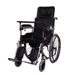 鱼跃钢管轮椅H009B可折叠带便盆桌餐板高靠背可平躺
